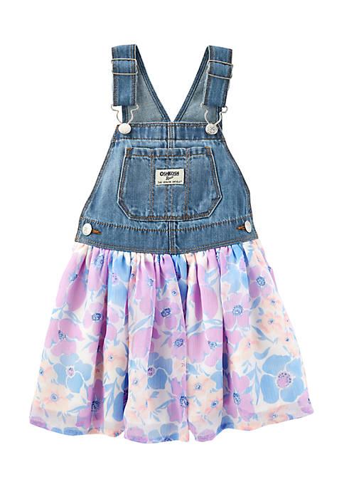 New OshKosh B'gosh Toddler Girls Floral Denim Jumper hot sale