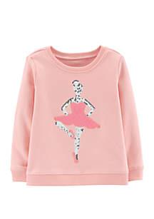 Toddler Girls Glitter Ballerina Pullover