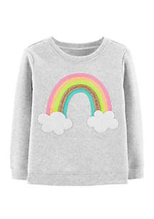Toddler Girls Glitter Rainbow Pullover