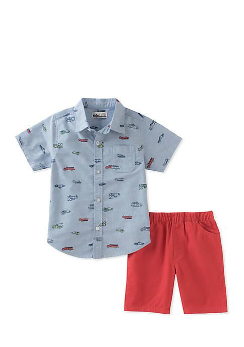 Kids Headquarters 2-Piece Button Front Shirt and Shorts