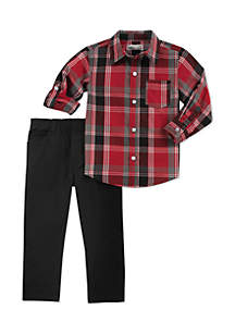 Baby Boys Red Plaid Set