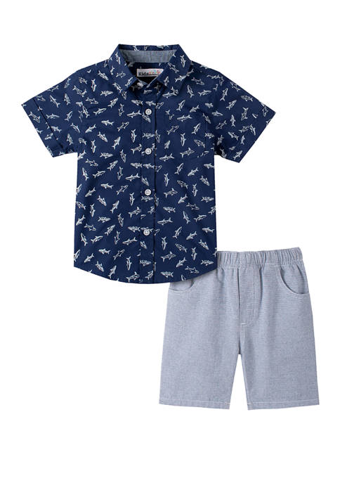 Toddler Boys Short Sleeve Woven Shirt and Shorts Set