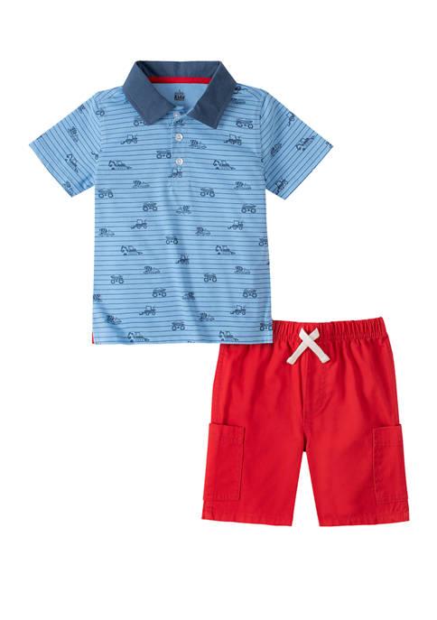 Kids Headquarters Toddler Boys 2 Piece Polo Shirt