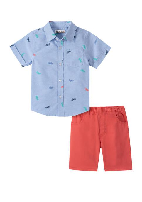 Kids Headquarters Toddler Boys Short Sleeve Woven Shirt