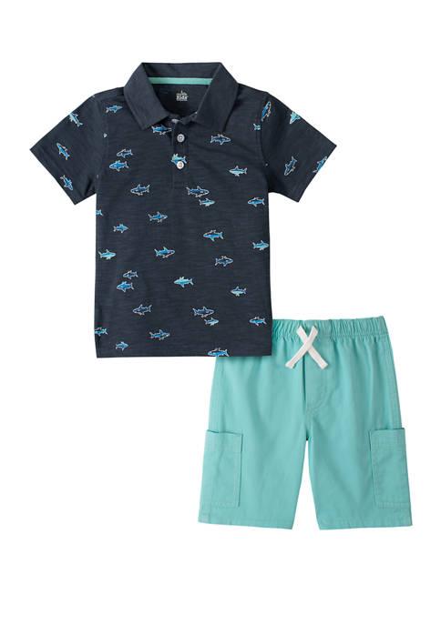 Baby Boys Fish Polo Shirt Set