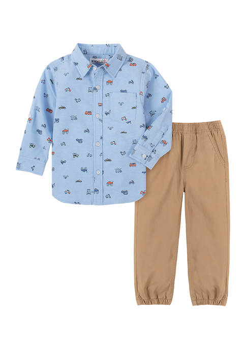 Kids Headquarters Baby Boys Printed Woven Set
