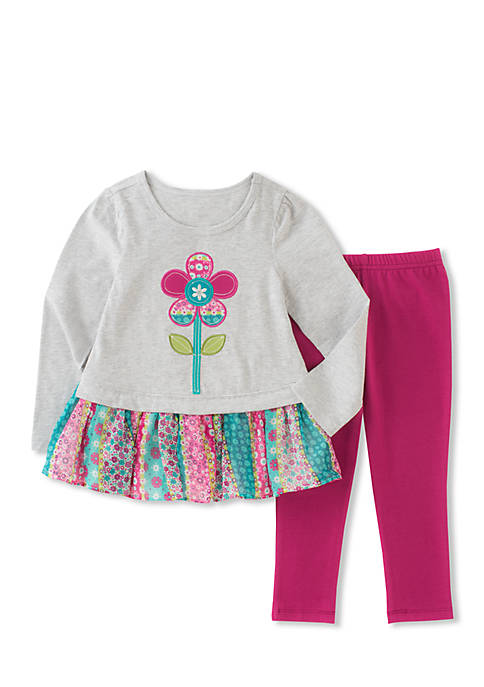 Kids Headquarters Two-Piece Georgette Hem Tunic and Legging