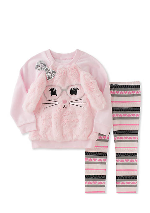 Kids Headquarters Two-Piece Faux Fur Bunny Face Top