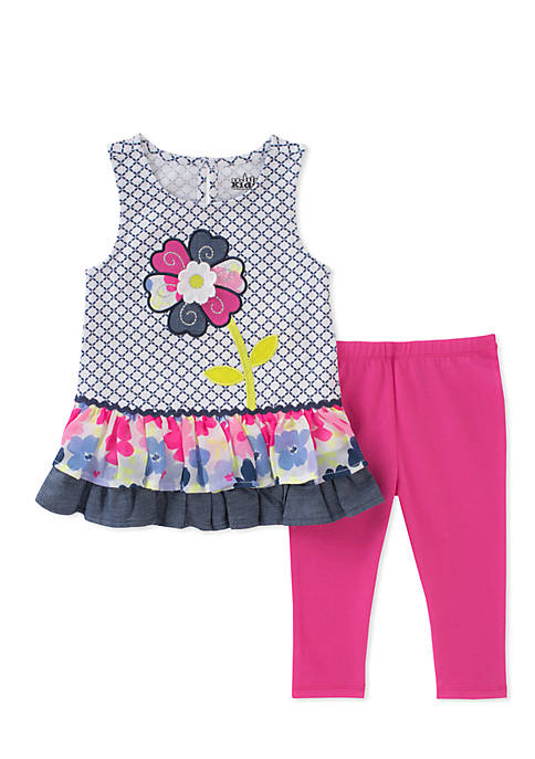 Kids Headquarters 2-Piece Floral Top and Leggings Set