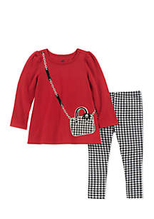 Baby Girls Red Houndstooth Set