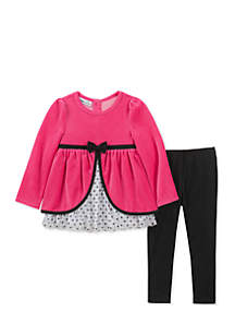 Baby Girls Velour Bow Set