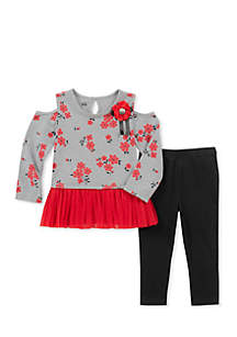 Baby Girls Red Cold-Shoulder Set
