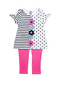 Kids Headquarters Baby Girls Floral Stripes and Hearts 2 Piece Set