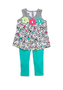 Kids Headquarters Baby Girls Floral Turquoise 2 Piece Set