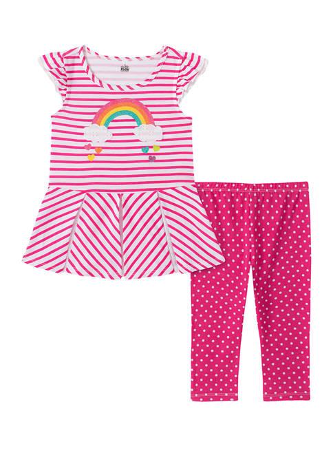 Baby Girls Rainbow Graphic Shirt with Dot Capri Leggings Set