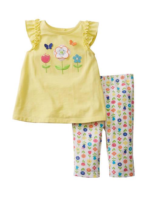Baby Girls Yellow with Floral Capri Leggings Set