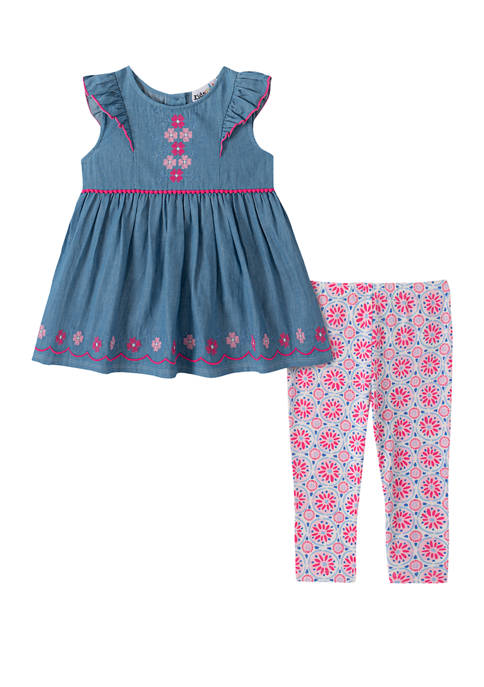Baby Girls Chambray Top with Floral Capri Leggings Set