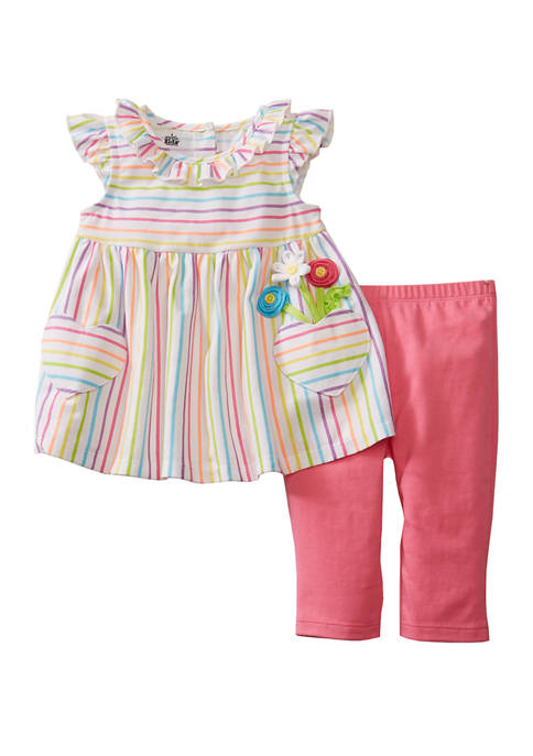 Kids Headquarters Baby Girls Stripes With Hearts Pocket Capri Leggings Set Belk