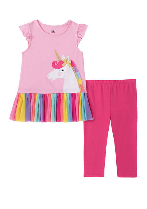 Kids Headquarters Toddler Girls Flutter Sleeve Unicorn Capri