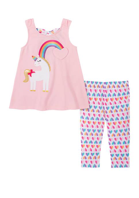 Girls 4-6x Sleeveless Unicorn Top and Capri Leggings Set
