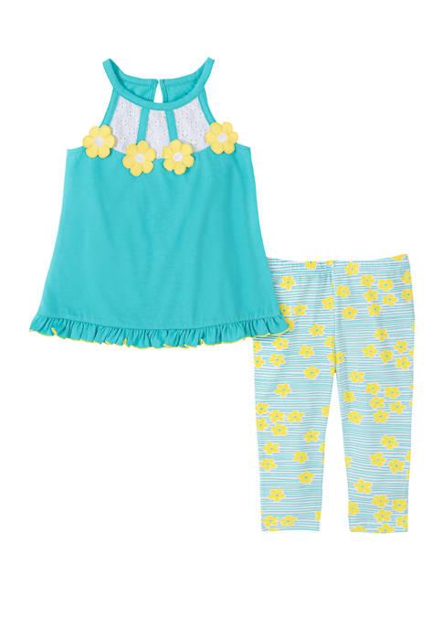 Kids Headquarters Toddler Girls Flower Capri Legging Set