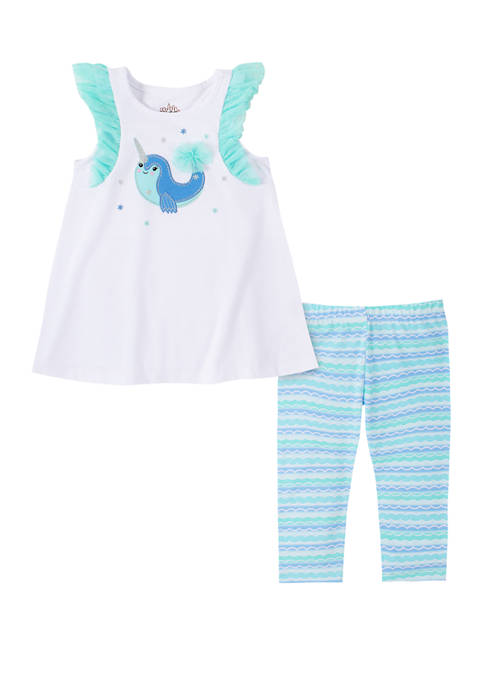 Kids Headquarters Toddler Girls Narwhal Tank and Capri