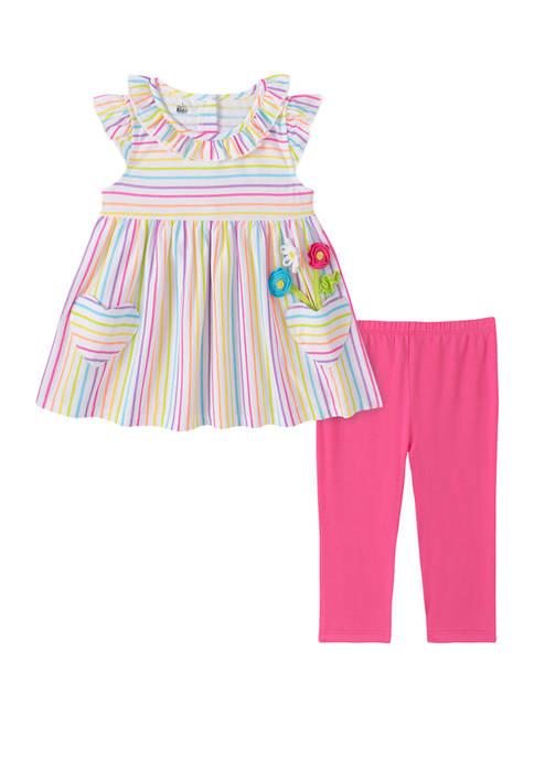Kids Headquarters Toddler Girls Flutter Sleeve Capri Leggings