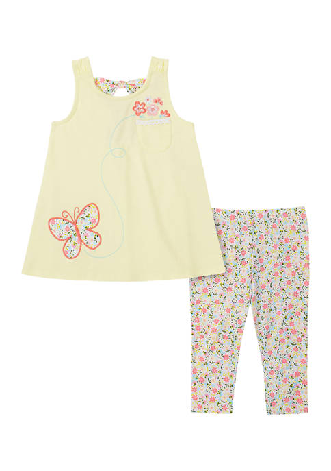 Kids Headquarters Baby Girls Butterfly Tank and Leggings