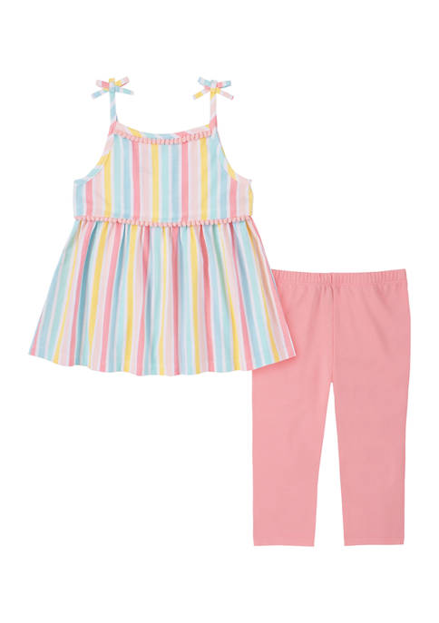 Kids Headquarters Toddler Girls Striped Tank and Leggings
