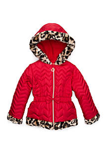 Baby Girls Quilted Puffer Jacket with Animal Fur