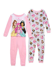 Disney® Princess Toddler Girls Princess 4 Piece Pajama Set