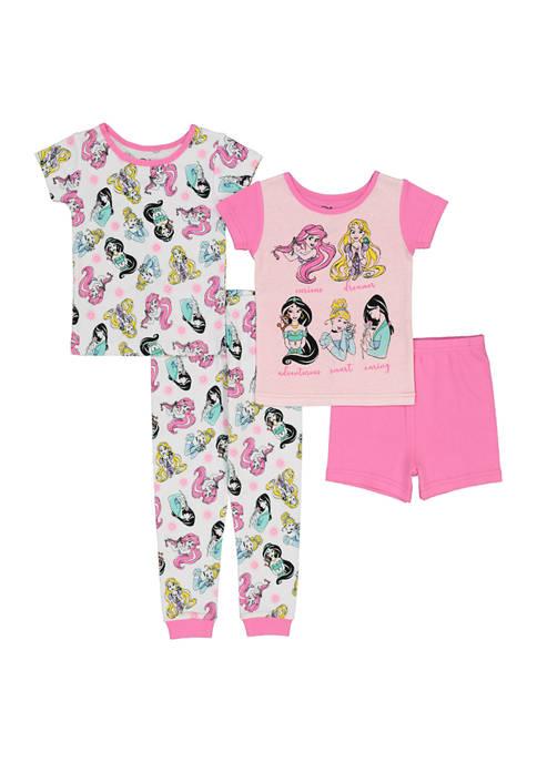 AME Toddler Girls 4 Piece Princess Pajama Set