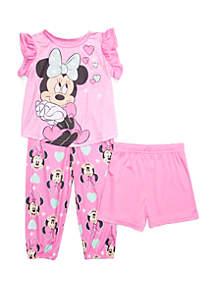 Disney® Minnie Toddler Girls Minnie Mouse 3 Piece Pajama Set