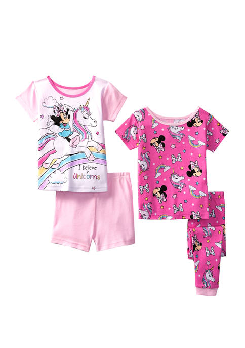 Disney® Minnie Toddler Girls 4 Piece Unicorn Pajamas