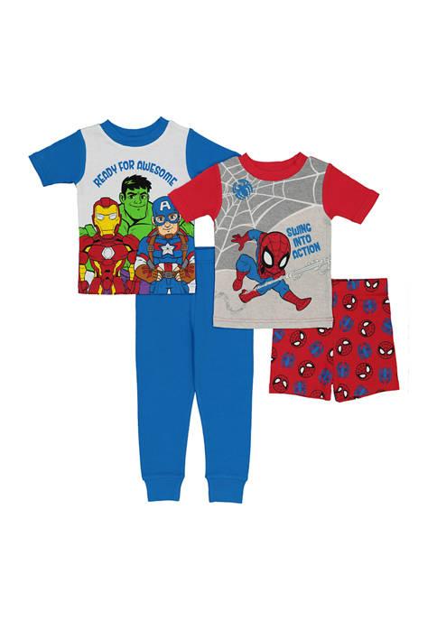 AME Toddler Boys 4 Piece Superhero Pajama Set