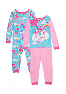 Toddler Girls 4-Piece Trolls Pajamas Set