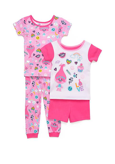 Toddler Girls Trolls 4 Piece Pajama Set