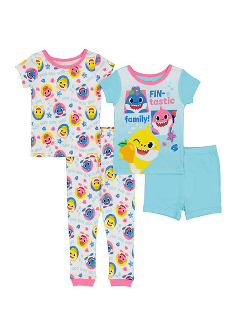 AME Toddler Girls 4 Piece Shark Pajama Set