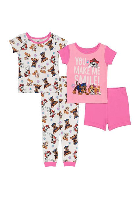 AME Toddler Girls 4 Piece Paw Patrol Pajama