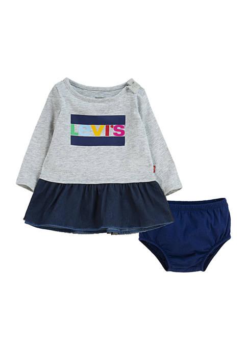 Baby Girls Fleece T-Shirt Dress and Briefs - 2 Piece Set