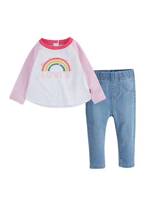 Baby Girls Raglan T-Shirt and Jeggings Set