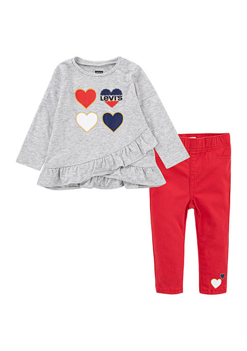 Levi's® Baby Girl 2 Piece Ruffle T-Shirt and