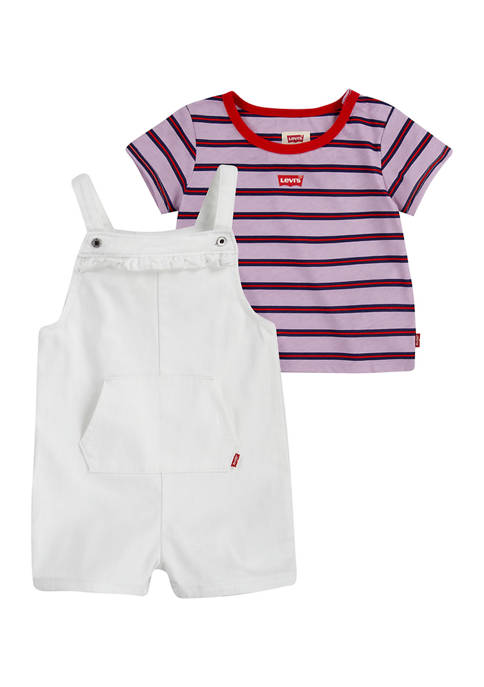 Baby Girls Striped T-Shirt and Shortall Set