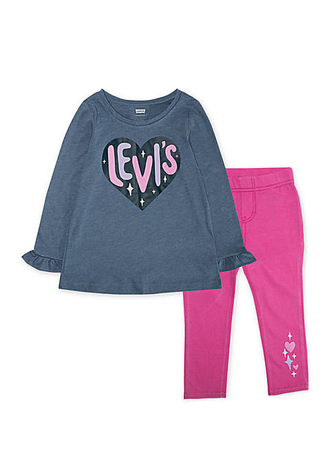 Levi's® Toddler Girls Heart Ruffle Tunic Pant Set
