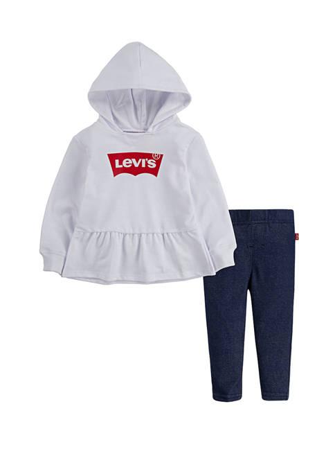 Levi's® Toddler Girls Peplum Hoodie and Leggings Set