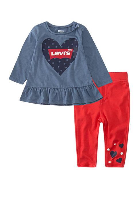 Toddler Girls Peplum Top and Leggings Set