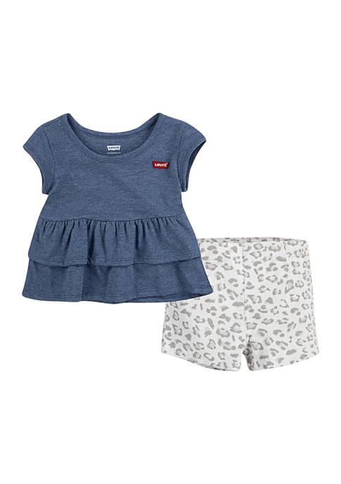 Toddler Girls Tiered Peplum Shorts Set