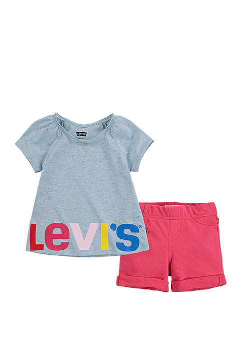Levi's® Toddler Girls Flutter Sleeve Top and Shorts