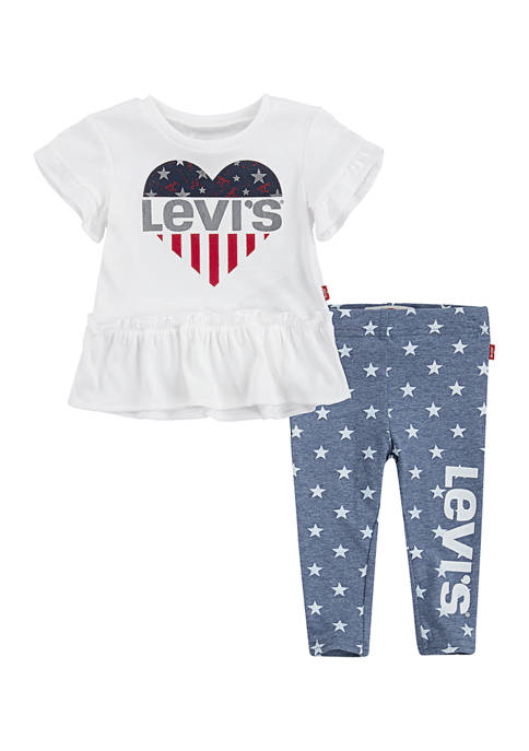 Levi's® Toddler Girls Ruffle Tunic T-Shirt and Leggings