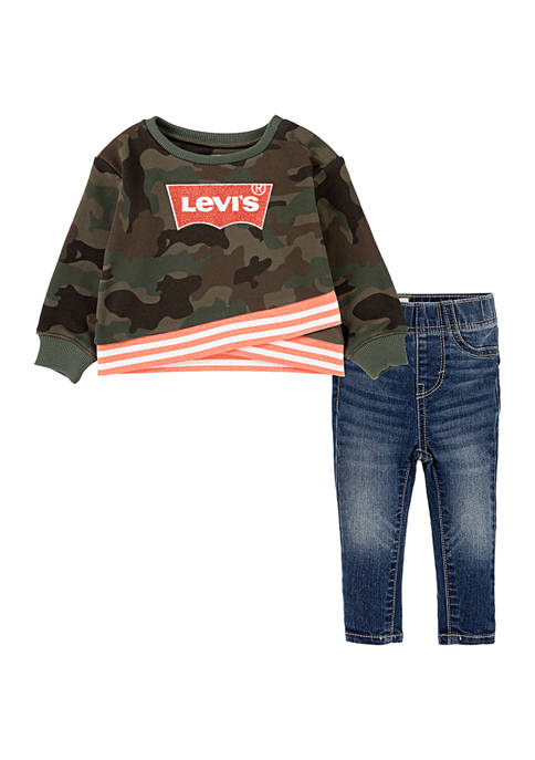 Levi's® Toddler Girls Rib Waist Crew Neck Top